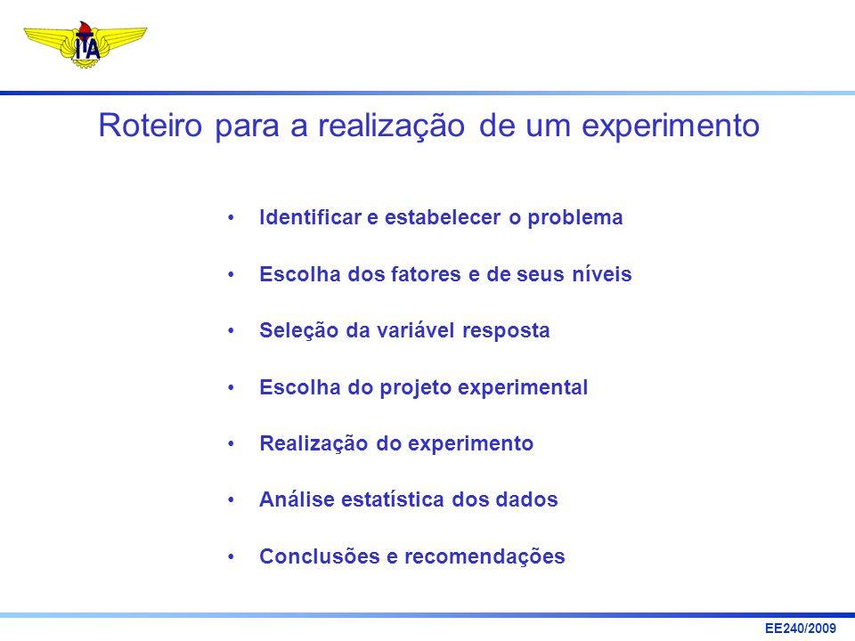 Roteiro para a realização de um experimento