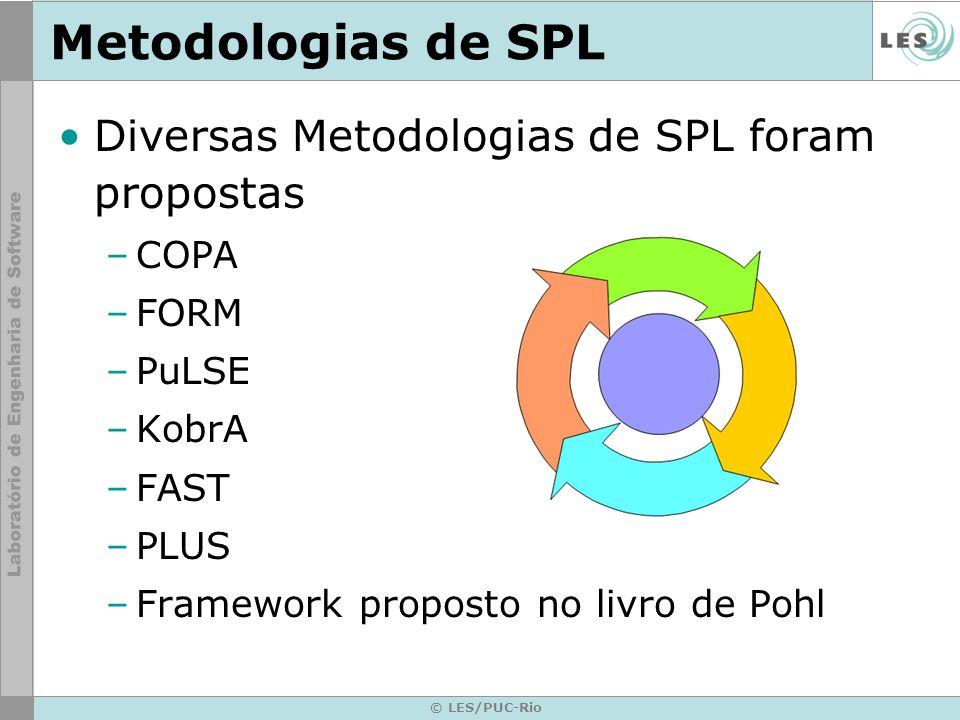 Metodologias de SPL Diversas Metodologias de SPL foram propostas COPA