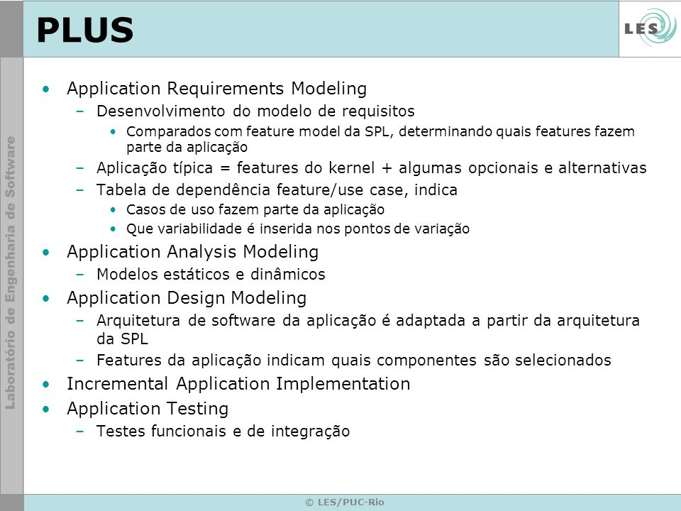 PLUS Application Requirements Modeling Application Analysis Modeling