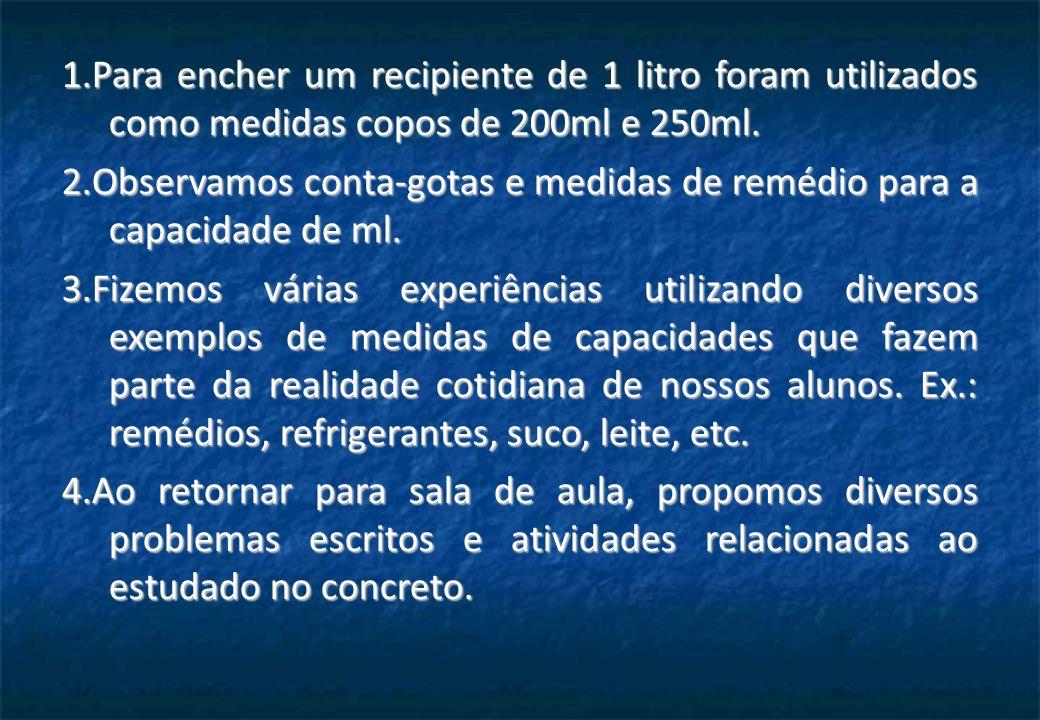 1.Para encher um recipiente de 1 litro foram utilizados como medidas copos de 200ml e 250ml.