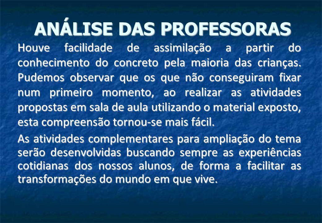 ANÁLISE DAS PROFESSORAS
