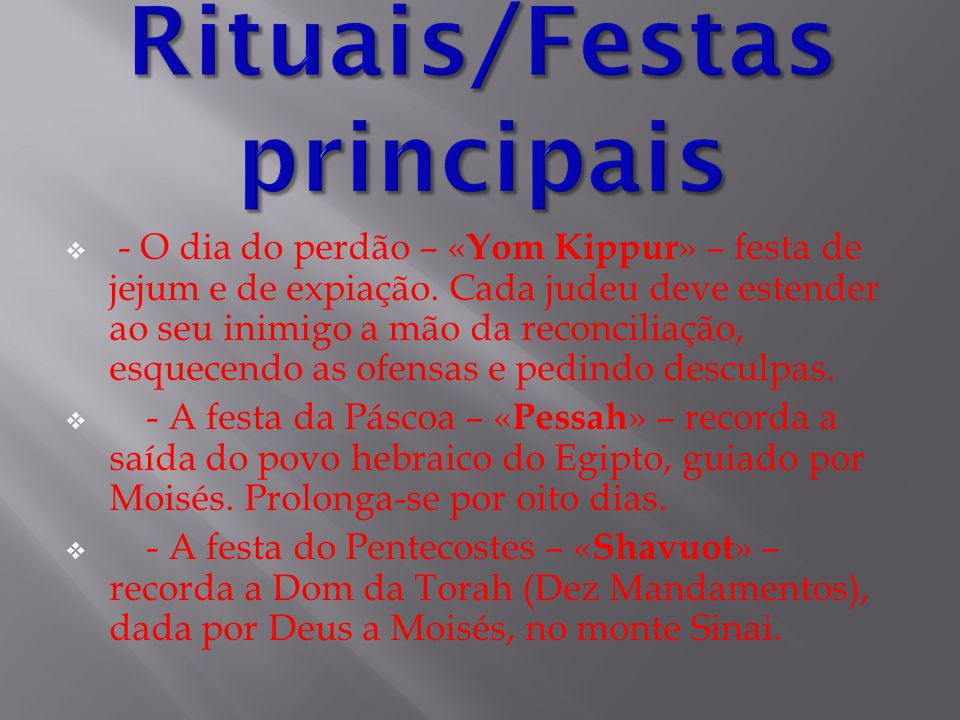Rituais/Festas principais