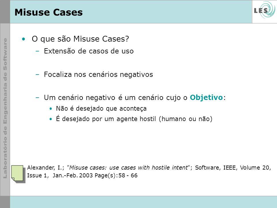 Misuse Cases O que são Misuse Cases Extensão de casos de uso