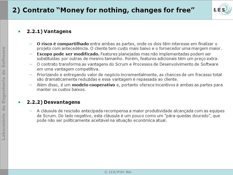 2) Contrato Money for nothing, changes for free