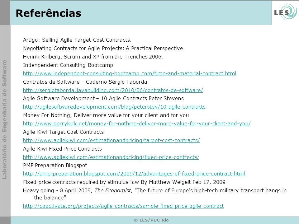 Referências Artigo: Selling Agile Target-Cost Contracts.