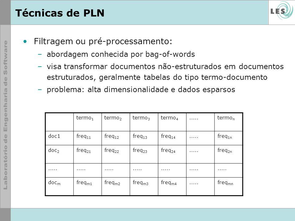 Técnicas de PLN Filtragem ou pré-processamento: