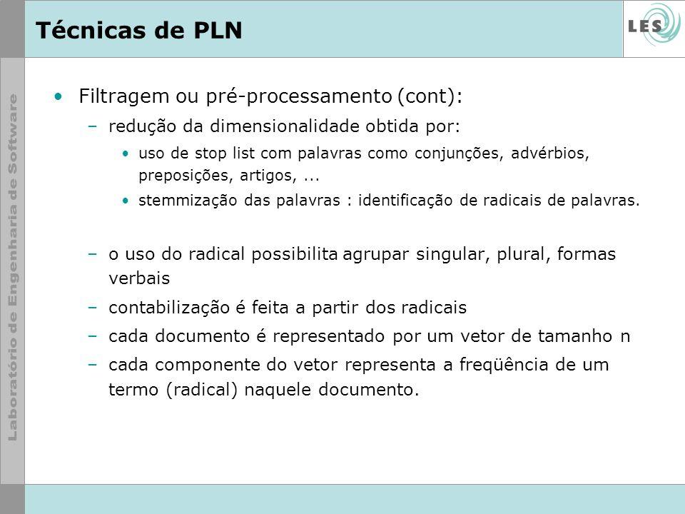 Técnicas de PLN Filtragem ou pré-processamento (cont):