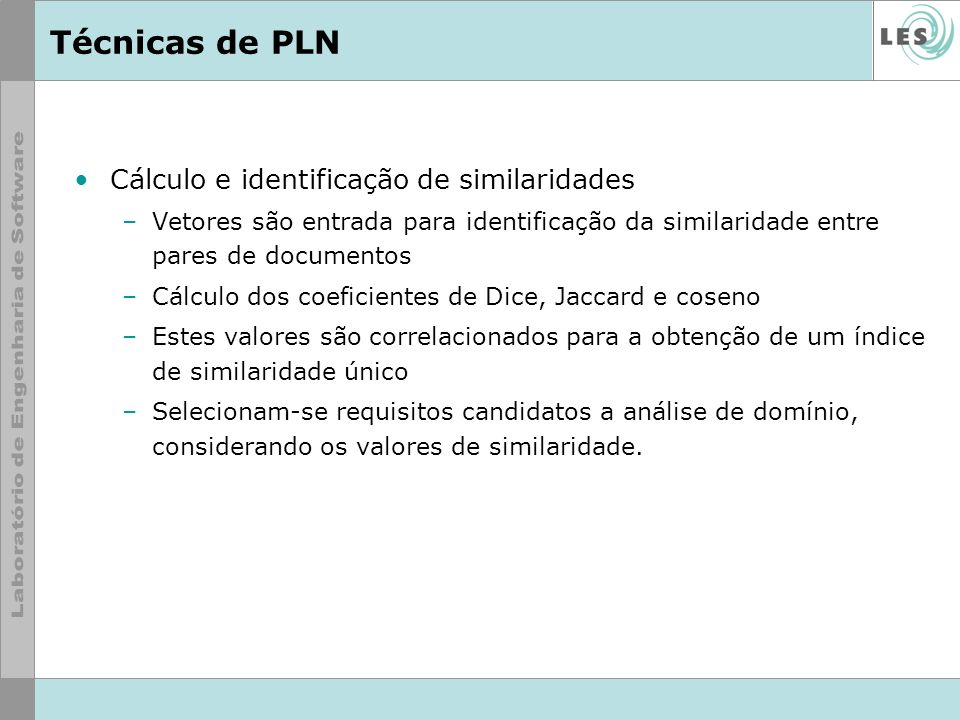 Técnicas de PLN Cálculo e identificação de similaridades