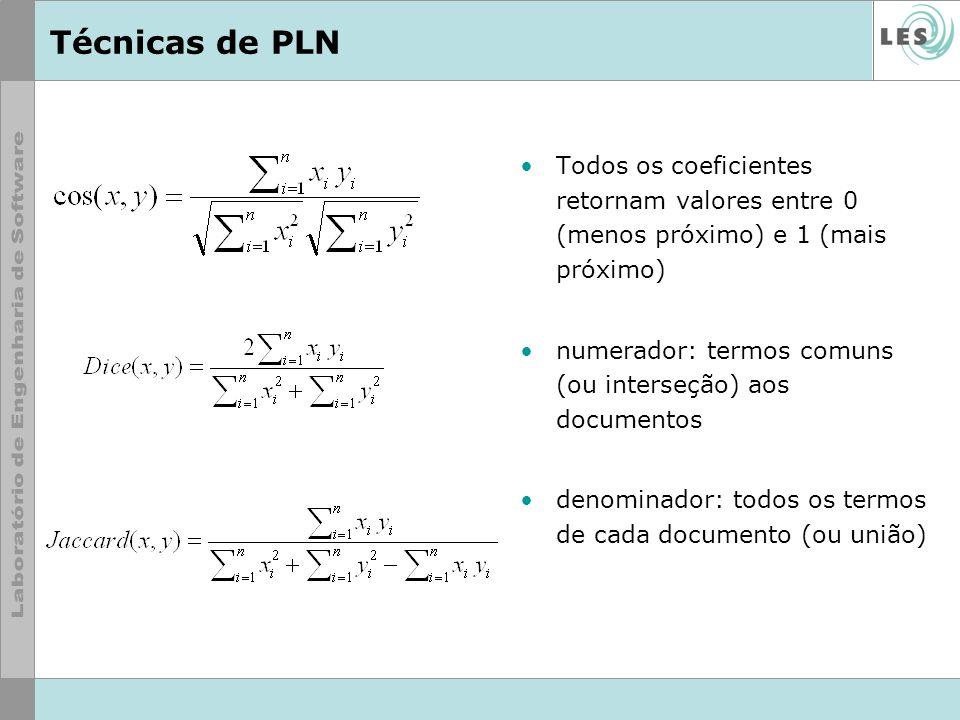 Técnicas de PLN Todos os coeficientes retornam valores entre 0 (menos próximo) e 1 (mais próximo)