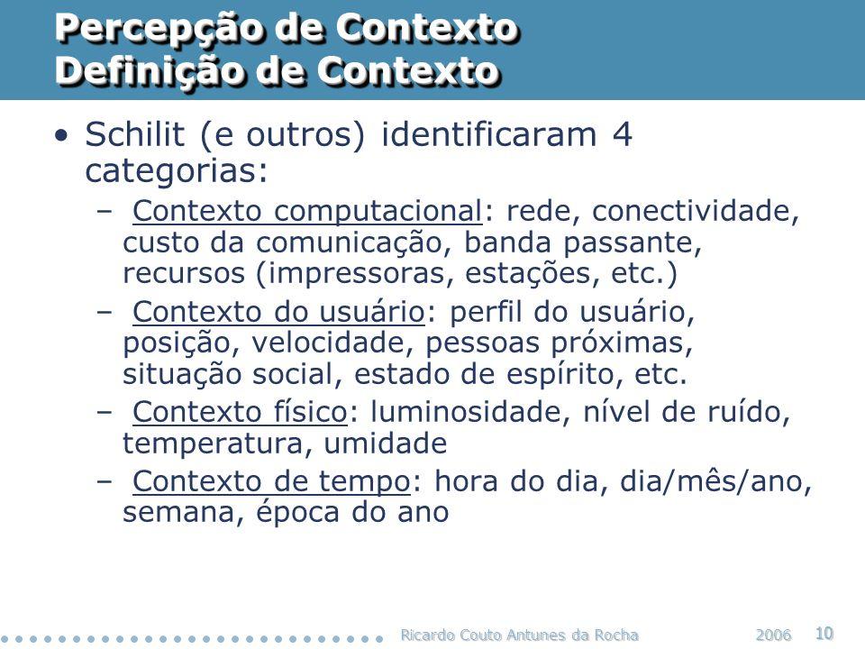 Percepção de Contexto Definição de Contexto