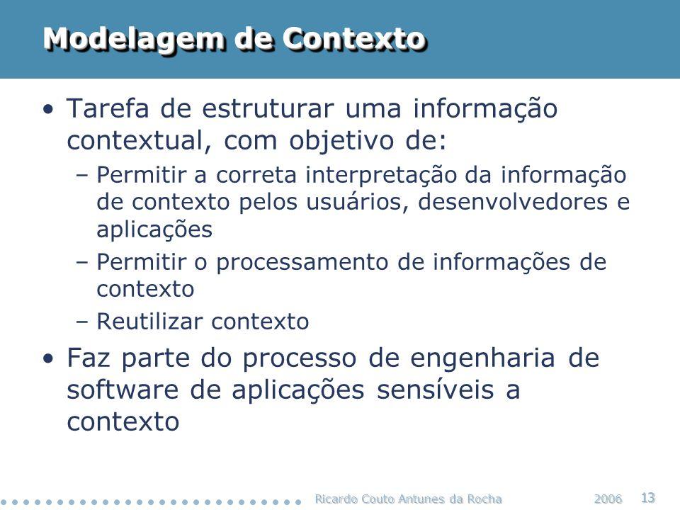 Modelagem de Contexto Tarefa de estruturar uma informação contextual, com objetivo de: