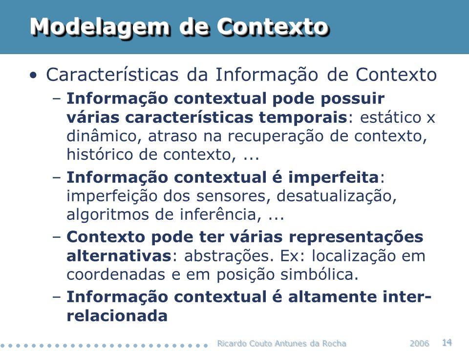 Modelagem de Contexto Características da Informação de Contexto