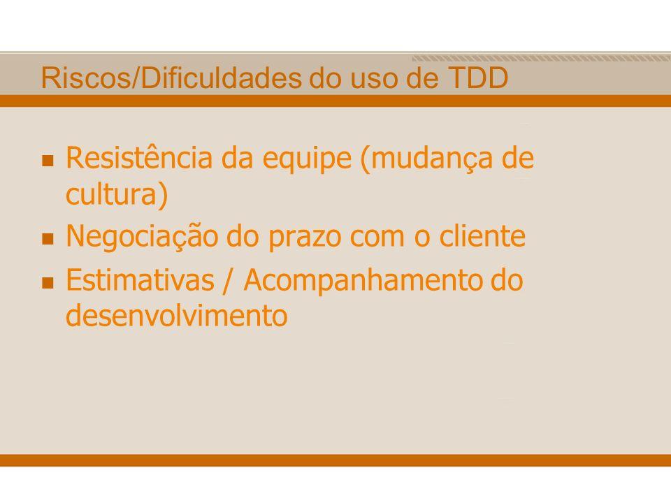 Riscos/Dificuldades do uso de TDD