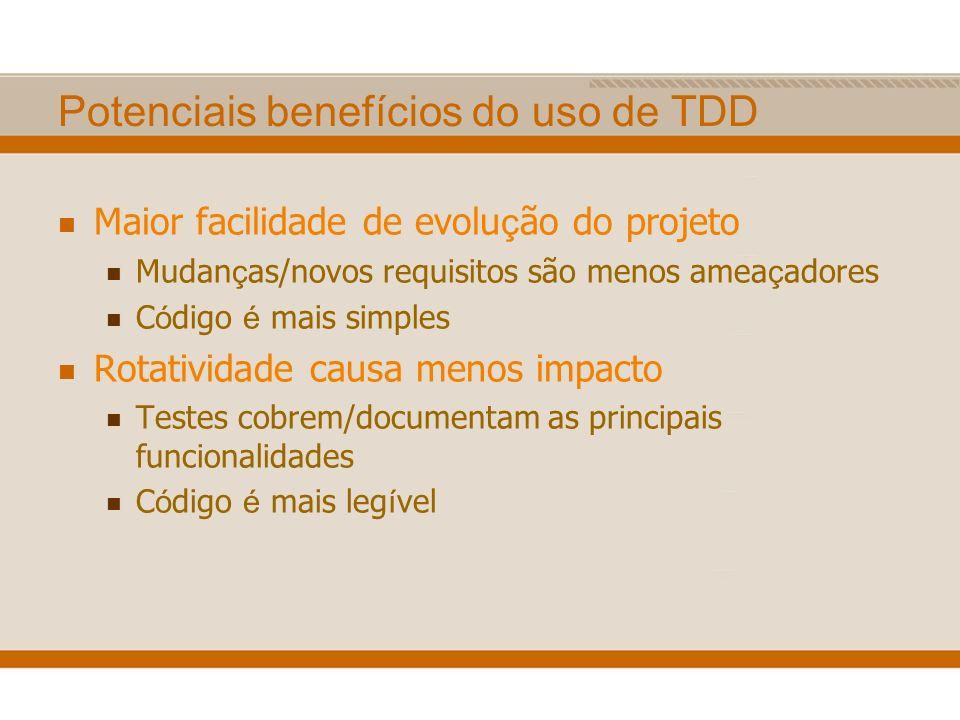 Potenciais benefícios do uso de TDD