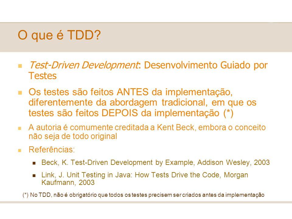 O que é TDD Test-Driven Development: Desenvolvimento Guiado por Testes.