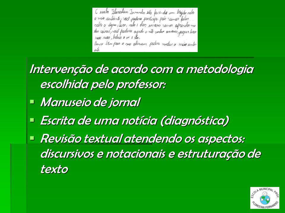 Intervenção de acordo com a metodologia escolhida pelo professor:
