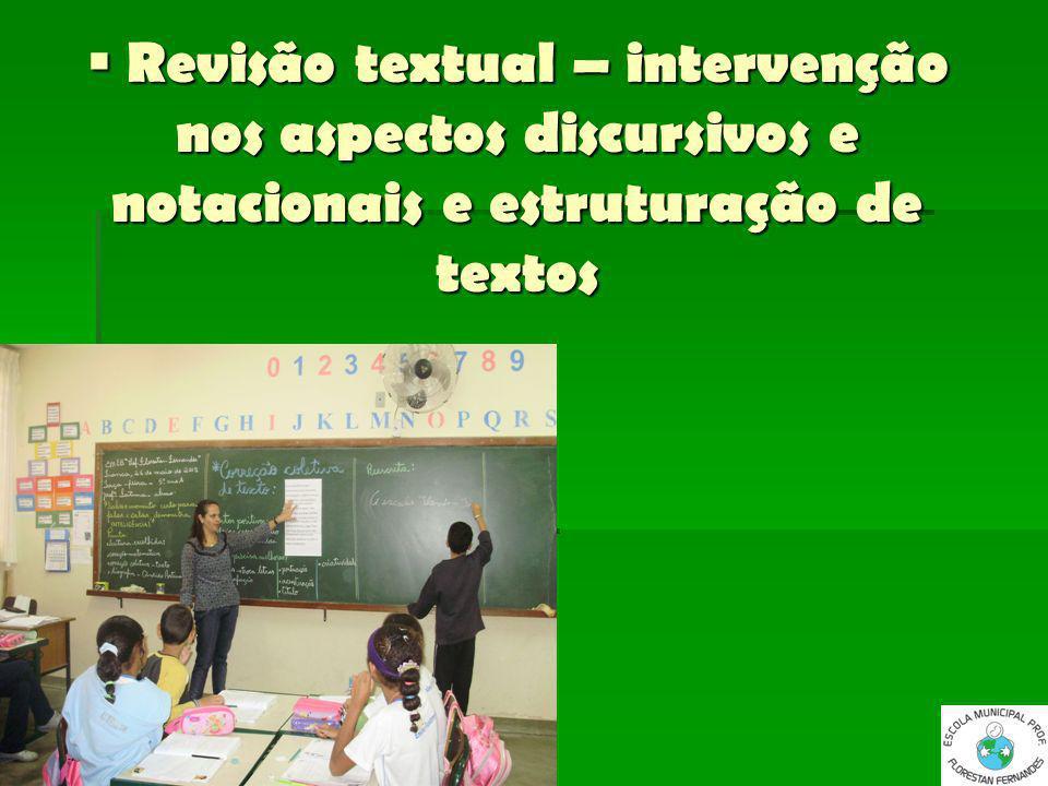 Revisão textual – intervenção nos aspectos discursivos e notacionais e estruturação de textos