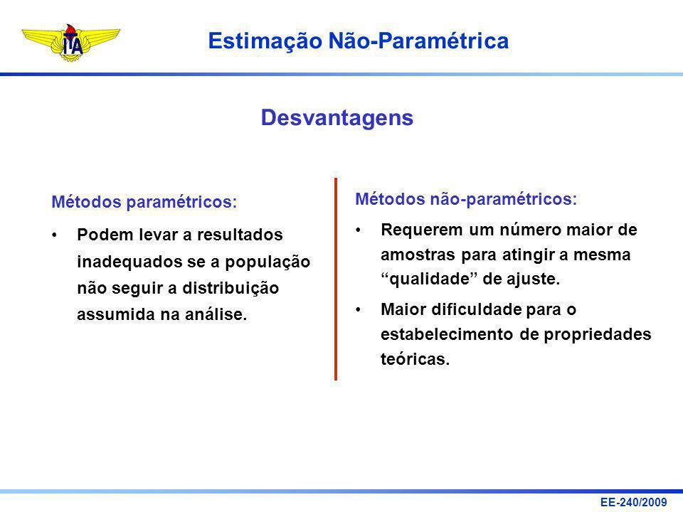 Desvantagens Métodos paramétricos: Métodos não-paramétricos: