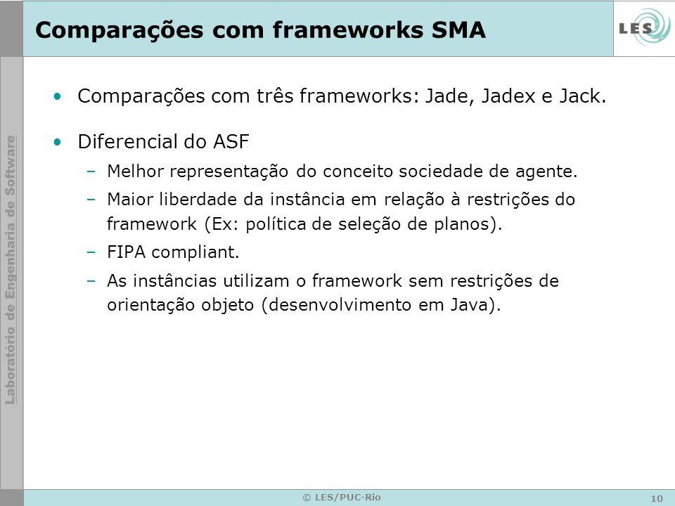 Comparações com frameworks SMA