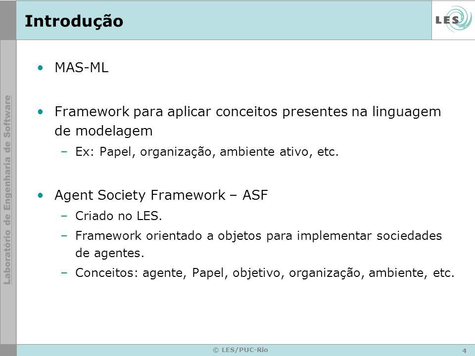 Introdução MAS-ML. Framework para aplicar conceitos presentes na linguagem de modelagem. Ex: Papel, organização, ambiente ativo, etc.
