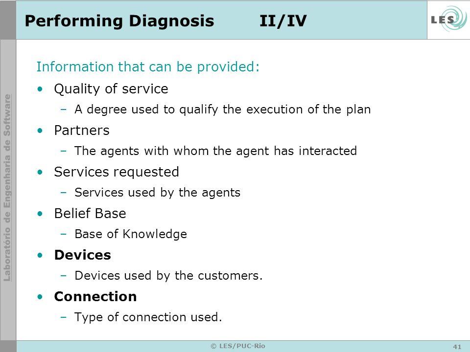Performing Diagnosis II/IV