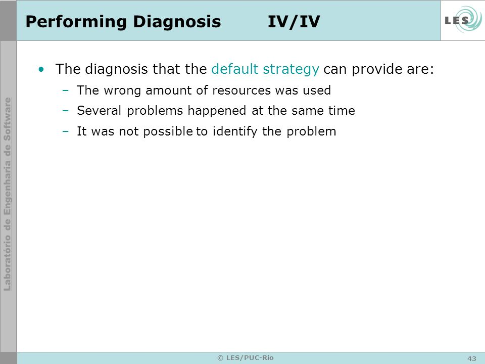 Performing Diagnosis IV/IV