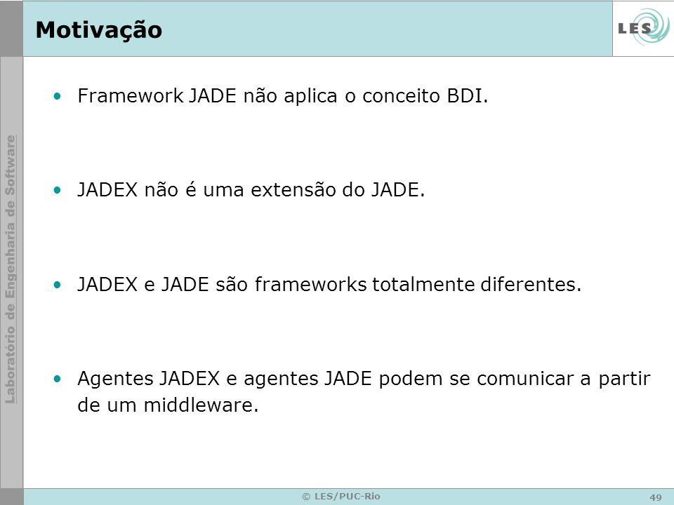 Motivação Framework JADE não aplica o conceito BDI.