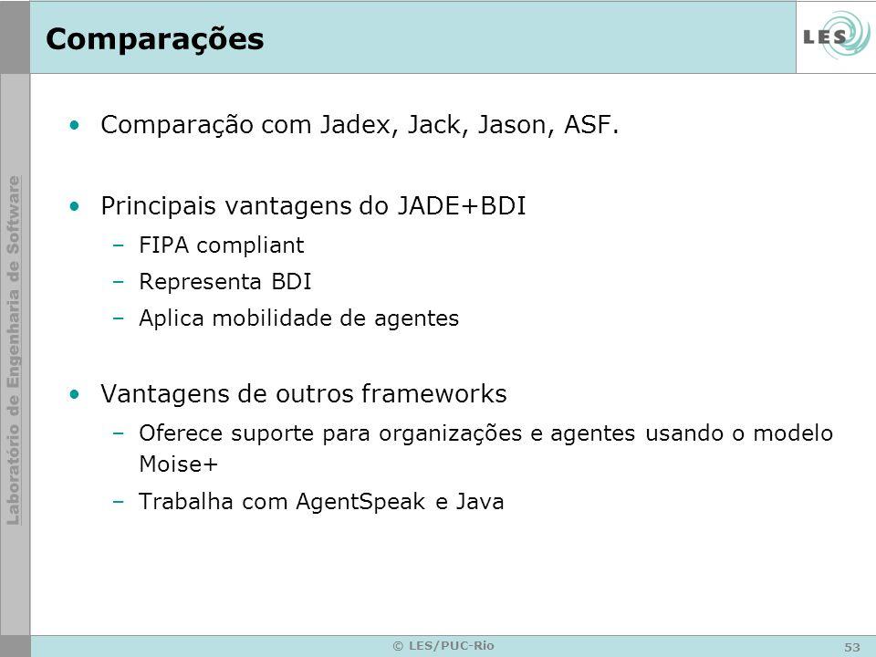 Comparações Comparação com Jadex, Jack, Jason, ASF.