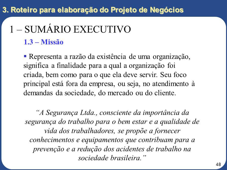 3. Roteiro para elaboração do Projeto de Negócios