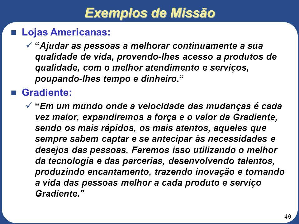 Exemplos de Missão Lojas Americanas: Gradiente: