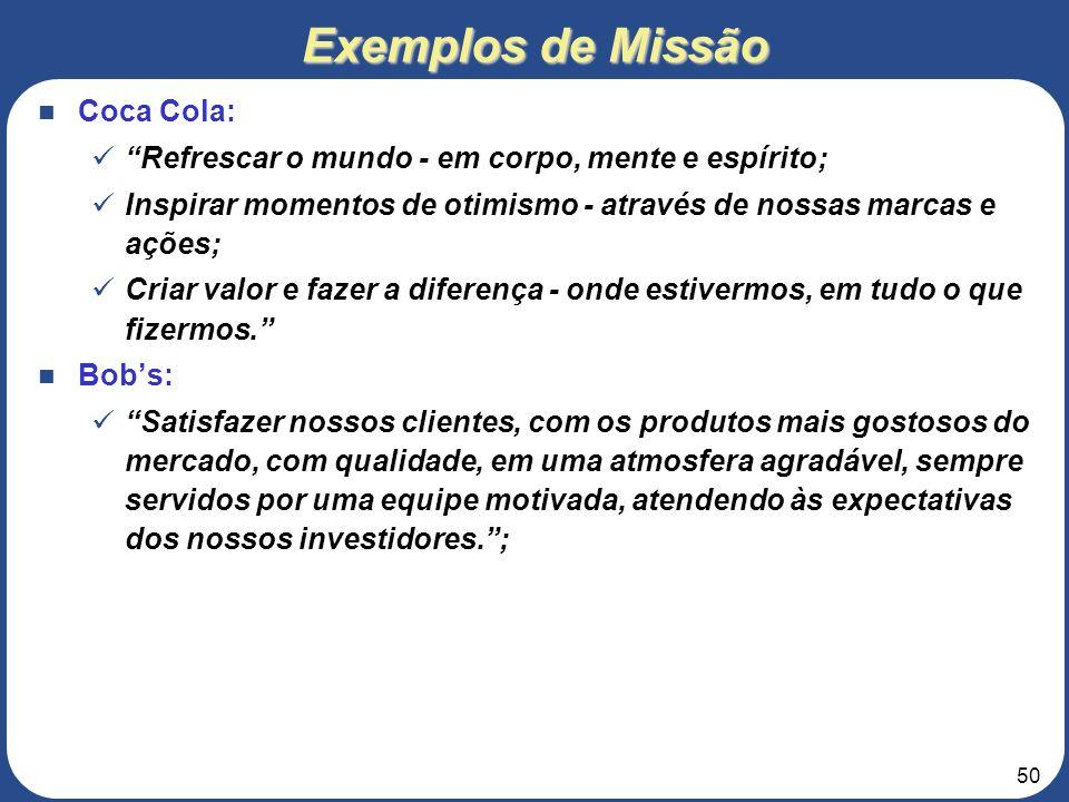 Exemplos de Missão Coca Cola: