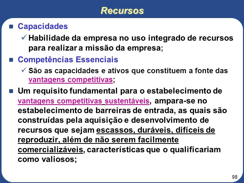 Recursos Capacidades. Habilidade da empresa no uso integrado de recursos para realizar a missão da empresa;
