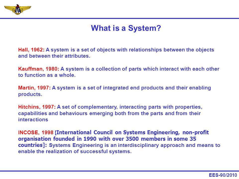 What is a System Hall, 1962: A system is a set of objects with relationships between the objects and between their attributes.