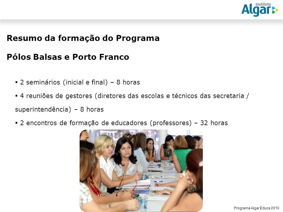 Resumo da formação do Programa Pólos Balsas e Porto Franco