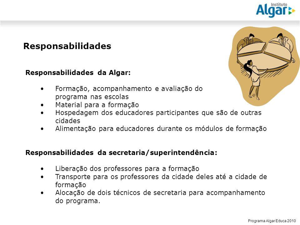 Responsabilidades Responsabilidades da Algar:
