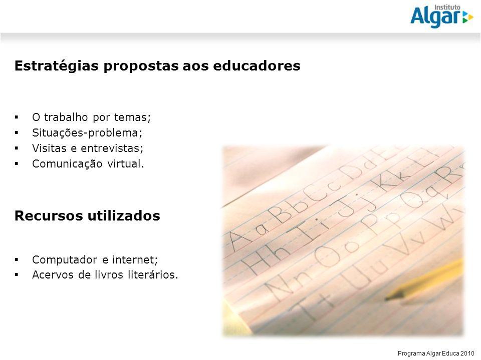 Estratégias propostas aos educadores