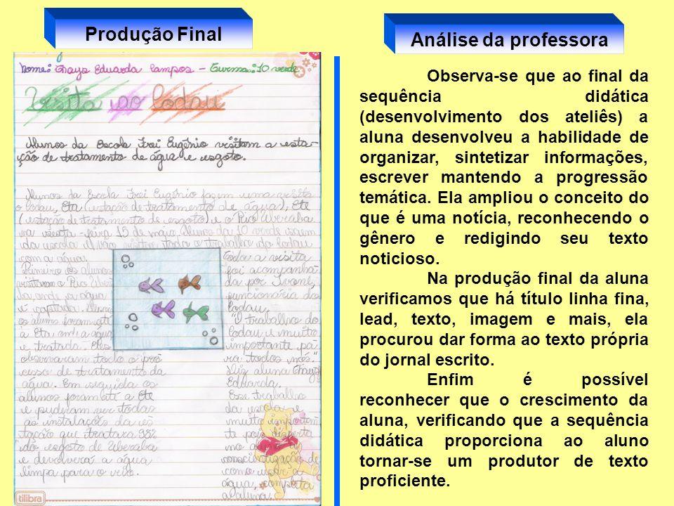Produção Final Análise da professora