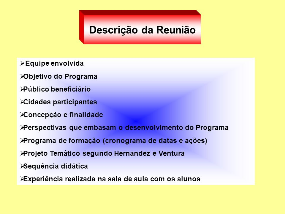 Descrição da Reunião Equipe envolvida Objetivo do Programa