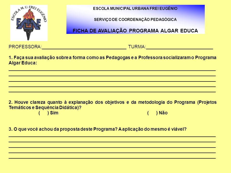 FICHA DE AVALIAÇÃO PROGRAMA ALGAR EDUCA