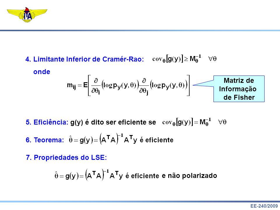 Matriz de Informação. de Fisher. 4. Limitante Inferior de Cramér-Rao: onde. 5. Eficiência: g(y) é dito ser eficiente se.