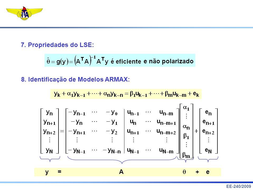 7. Propriedades do LSE: e não polarizado. 8. Identificação de Modelos ARMAX: