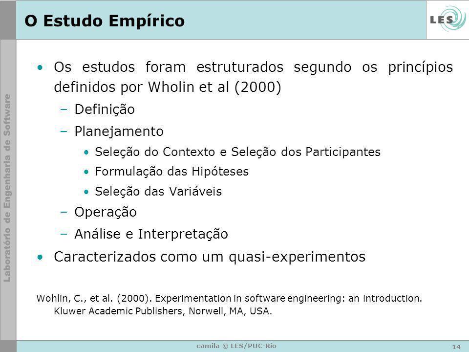 O Estudo Empírico Os estudos foram estruturados segundo os princípios definidos por Wholin et al (2000)