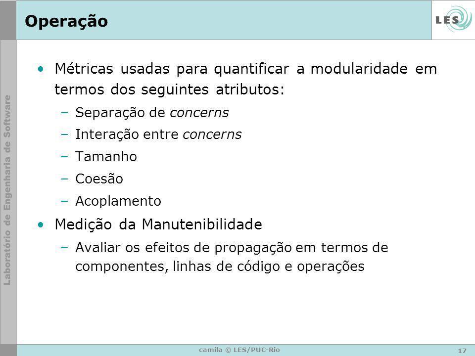 Operação Métricas usadas para quantificar a modularidade em termos dos seguintes atributos: Separação de concerns.