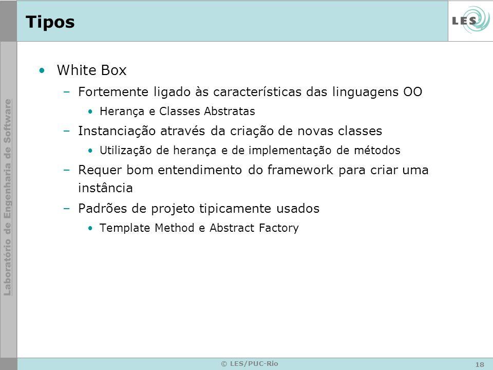Tipos White Box Fortemente ligado às características das linguagens OO