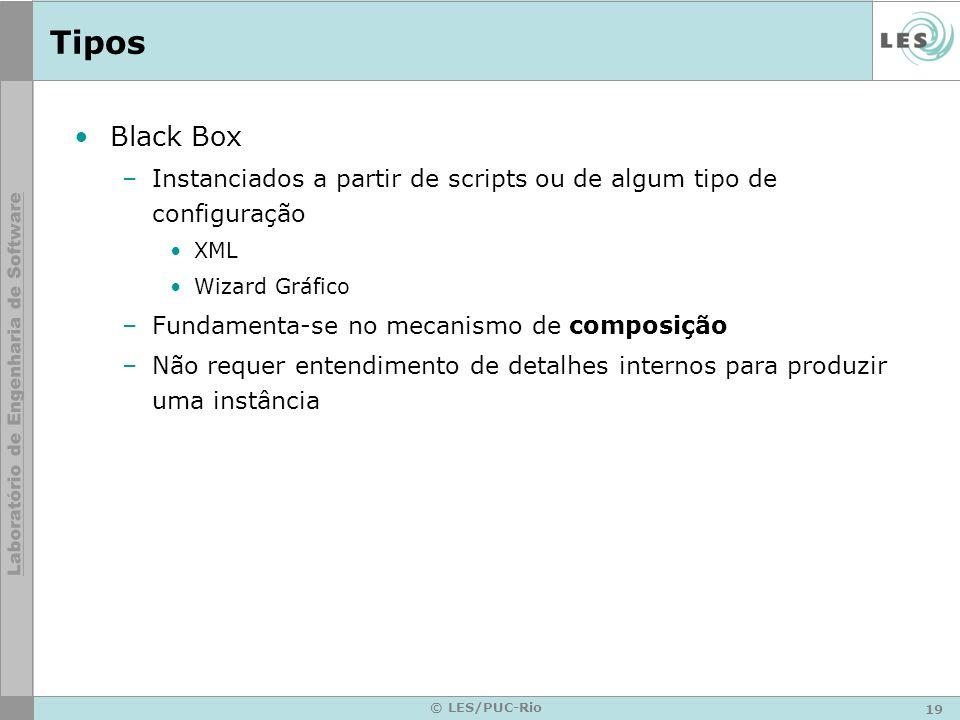 Tipos Black Box. Instanciados a partir de scripts ou de algum tipo de configuração. XML. Wizard Gráfico.