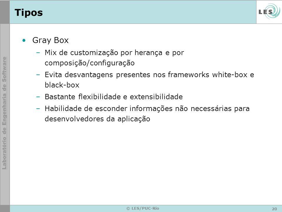 Tipos Gray Box. Mix de customização por herança e por composição/configuração. Evita desvantagens presentes nos frameworks white-box e black-box.