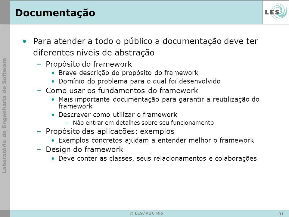 Documentação Para atender a todo o público a documentação deve ter diferentes níveis de abstração. Propósito do framework.