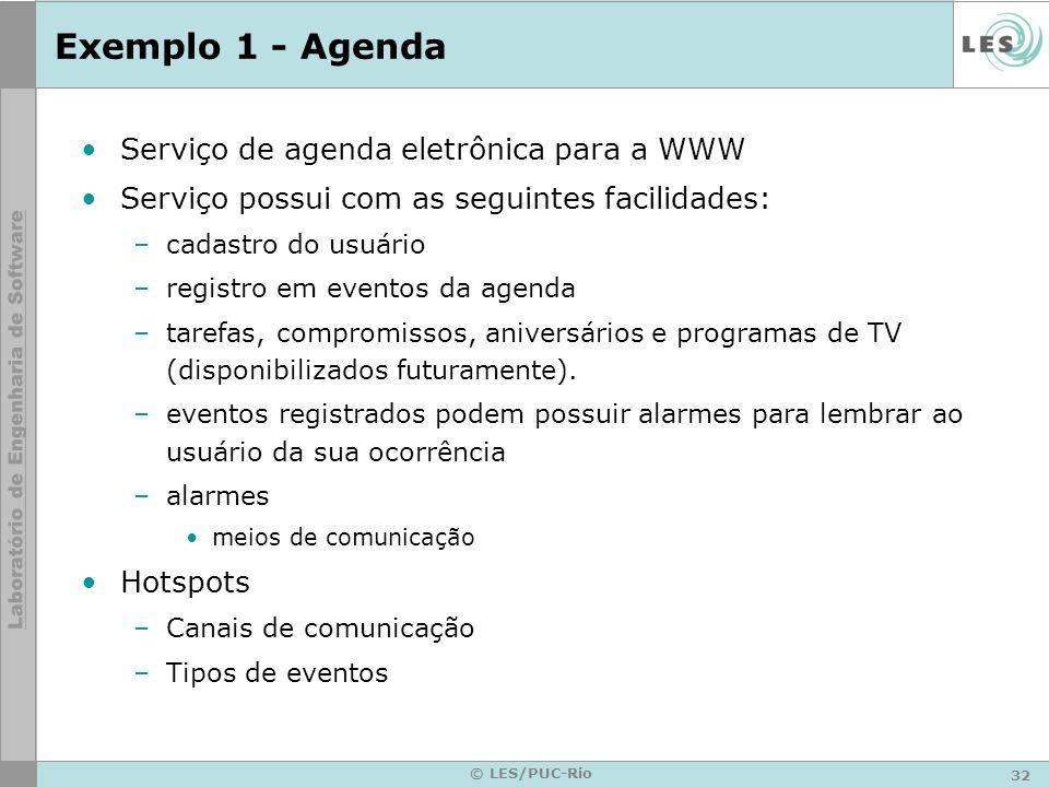 Exemplo 1 - Agenda Serviço de agenda eletrônica para a WWW