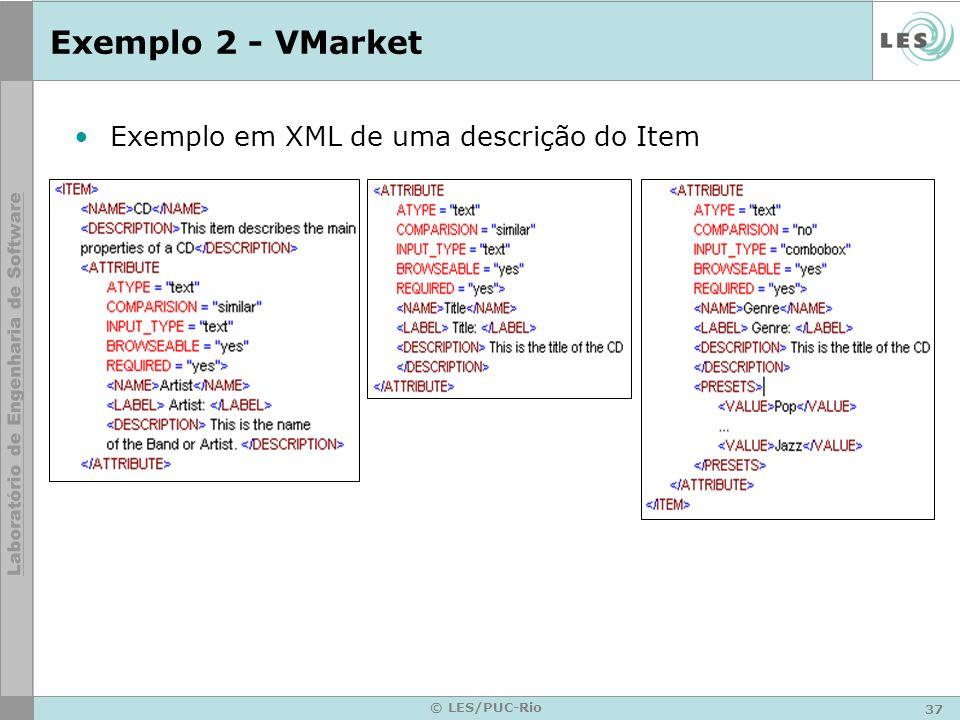 Exemplo 2 - VMarket Exemplo em XML de uma descrição do Item