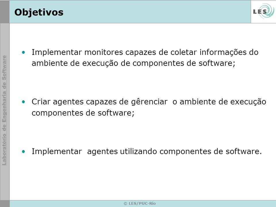 Objetivos Implementar monitores capazes de coletar informações do ambiente de execução de componentes de software;